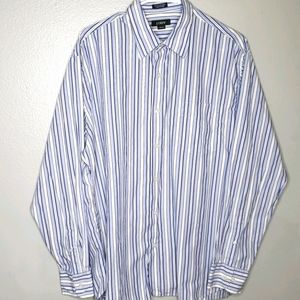 J. Crew Striped Button Down Shirt L Blue/W…